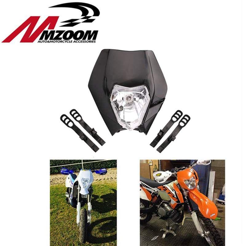 FREE SHIPPING MZOOM Motorcycle Dirt Bike Motocross Supermoto Headlamp Universal Headlight Fairing for KTM SX EXC