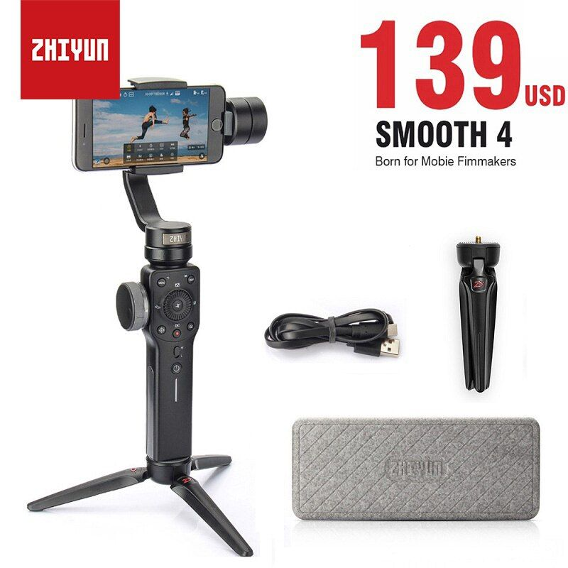 Zhiyun Smooth 4 Smartphone Stabilizer 3-Axis Vlog Handheld Gimbal for iPhone X Android Gopro Hero 6 sjcam YI Action vs DJI OSMO