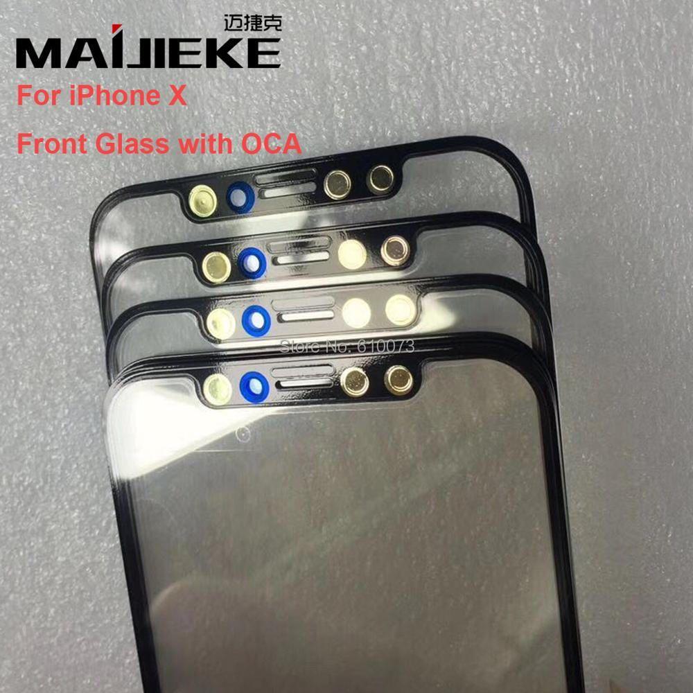 2 XMAIJIEKE AAA Vorderer Schirm Äußeres Glas Len mit OCA Montage für iPhone X Touch Panel Ersatz Ersatzteile