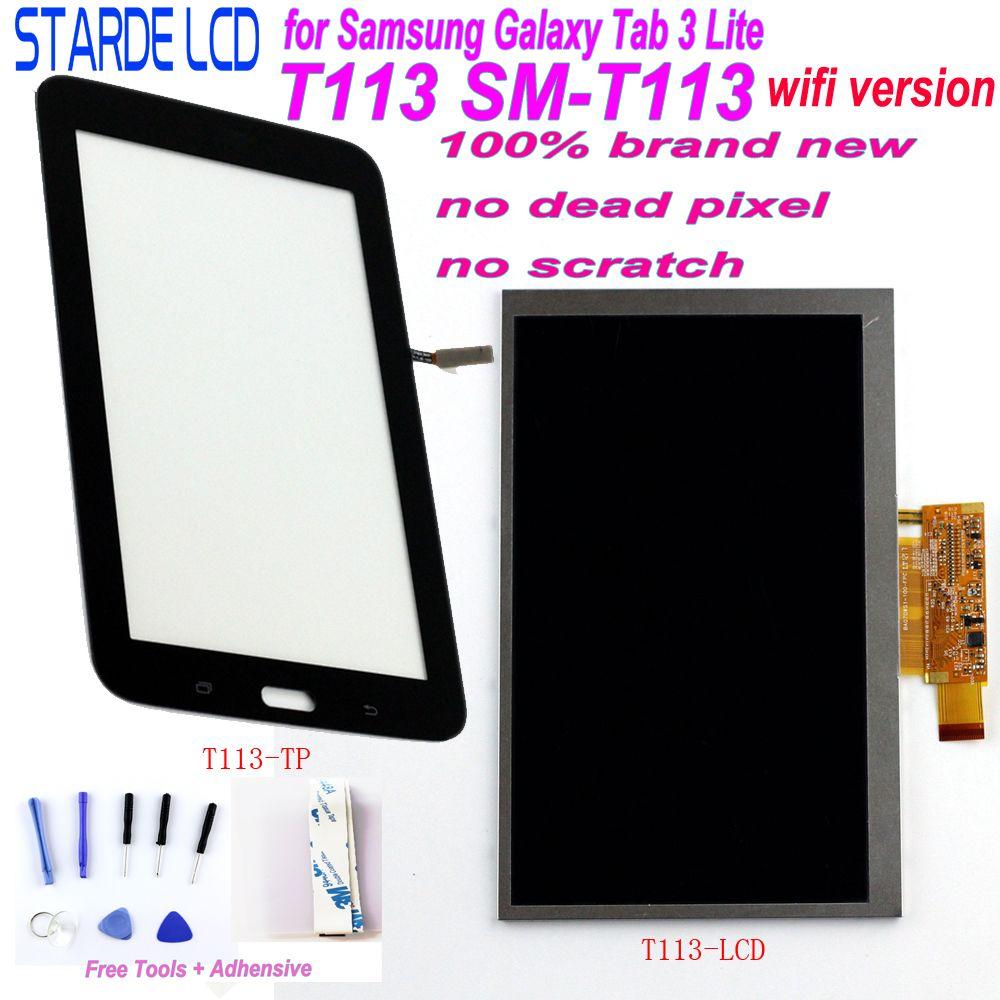 Starde LCD pour Samsung Galaxy Tab 3 Lite T113 SM-T113 Version Wifi affichage LCD écran tactile numériseur sens avec des outils gratuits
