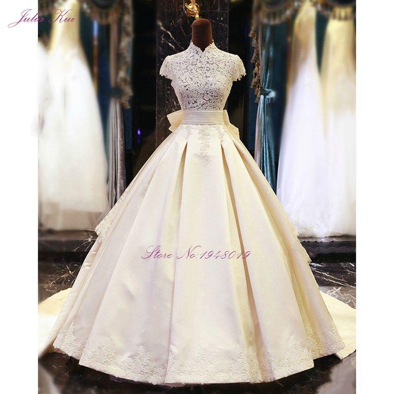 Julia Kui High Collar A-Line Wedding Dress Floor Length Appliques With Bow Vestido De Noiva Wedding Gown Tiered Stain Fabrics