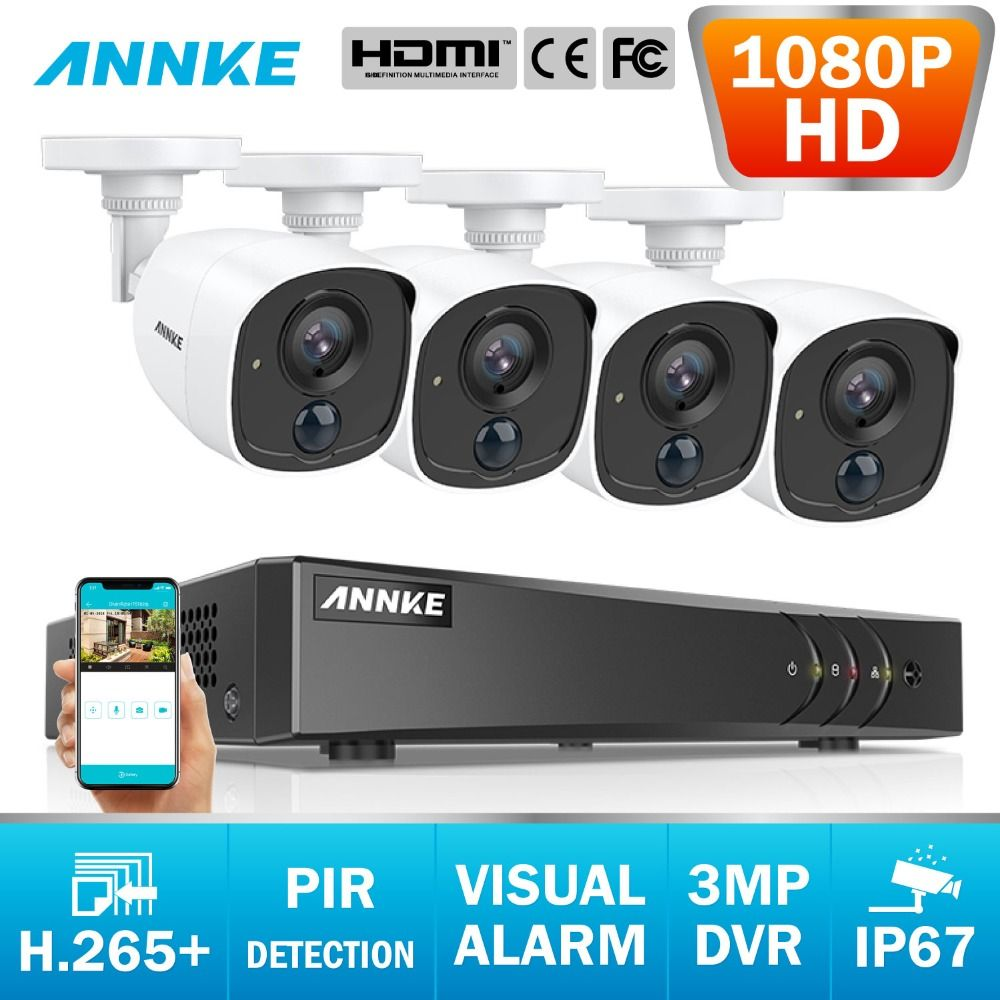 ANNKE 8CH 2MP CCTV Kamera System 3MP 5in1 H.265 + DVR Mit 1080 P HD Wetterfeste Gewehrkugel Kameras Home Video sicherheit Überwachung