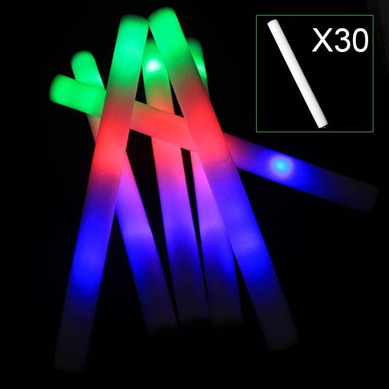 30 шт. многоцветный светодиод загорается Пены Палочки Stick ралли восторженные развеселить дубинки партии мигающий палке свет Щупы для мангал...