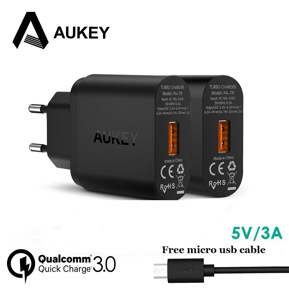 AUKEY Quick Charge 3.0 USB Charger EU/US Wall Travel Charger For iPhone <font><b>Xiaomi</b></font> redmi3 4x Samsung Galaxy s8 Fast Phones charger
