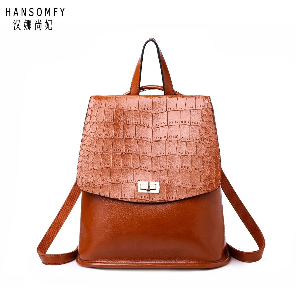 100% Genuine leather Women backpack 2018 New wave of female students backpack spring and summer fashion Crocodile grain bag