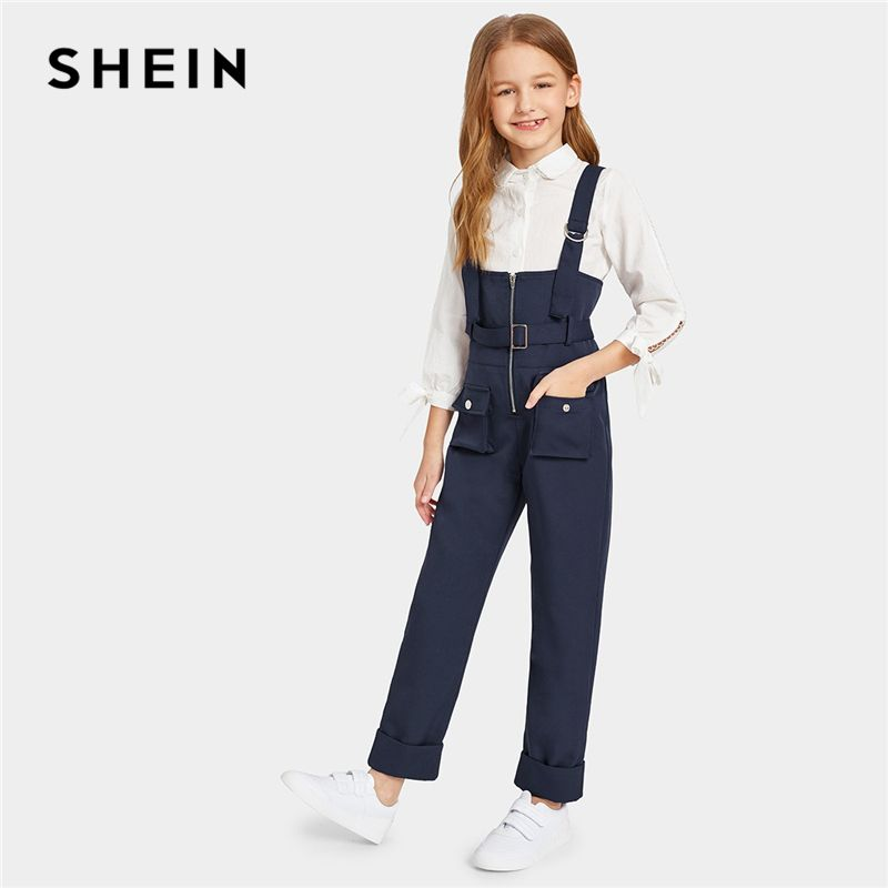 SHEIN Kiddie Navy Pocket Patched Zip Up Pinafore Jumpsuit With Belt 2019 Summer Straps Preppy Straight Leg Kids Casual Jumpsuits
