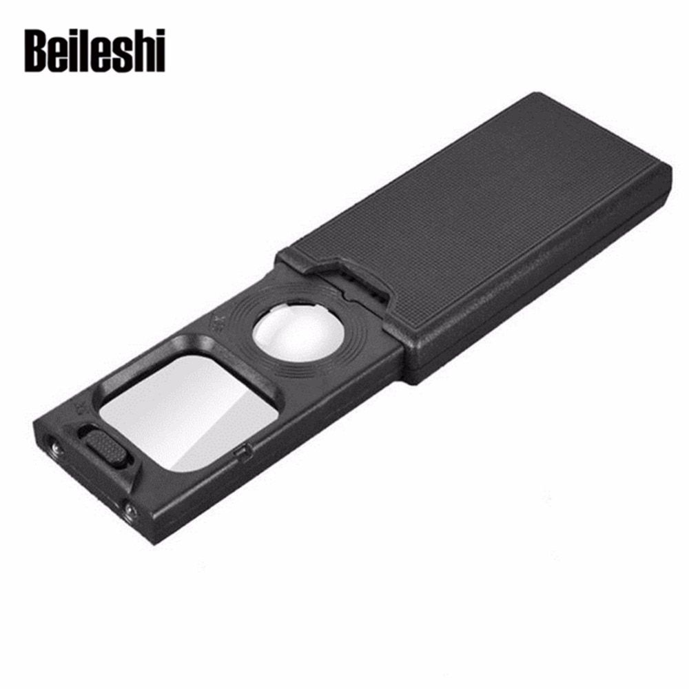 Beileishi  Magnifier With Led Lights 5X 45X Magnification Mini Magnifying Glass Jewelry and Watch Inspection Pocket 9582