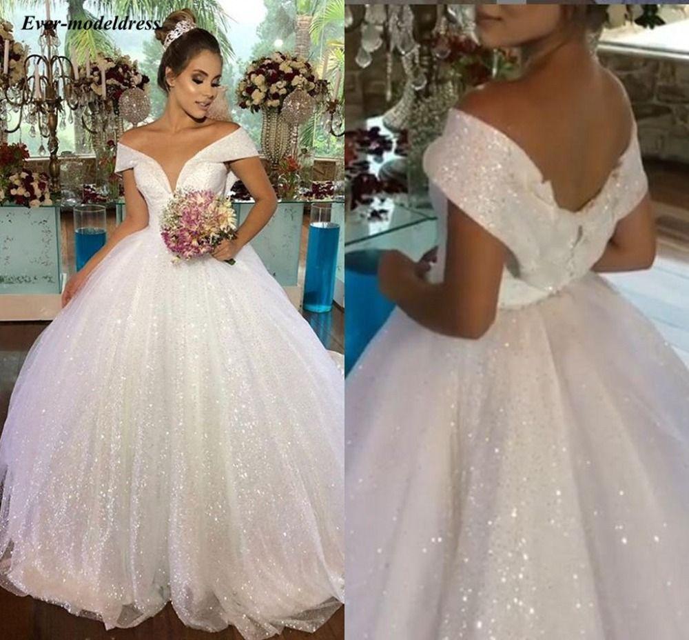 Luxus Prinzessin Hochzeit Kleider 2019 Off Schulter Shiny Ballkleider Brautkleider Lace Up Lange Vestido de Noiva Robe De mariee