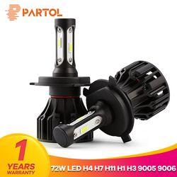 Partol T5 LED H4 Salut Lo Faisceau H7 H11 H1 9005 9006 H3 Voiture LED Phare Ampoules 72 W 8000LM Automobile Phare Brouillard Lumière 6500 K 12 V