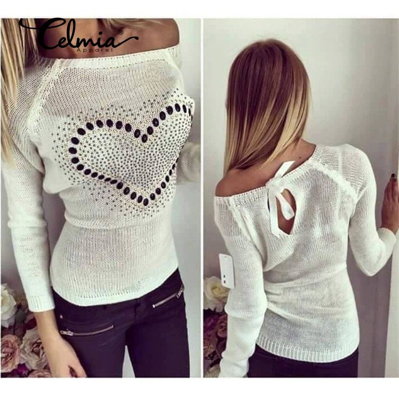 Новый Для женщин трикотажные Свитера, пуловеры осень 2017 г. пикантные с открытыми плечами сердце картины бантом тонкие тянуть Femme джемпер S-2XL