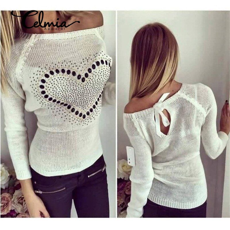 New Women Knitted Sweater Pullover 2017 Autumn Sexy Off Shoulder Heart Pattern Bowknot Thin Pull Femme Jumper S-2XL