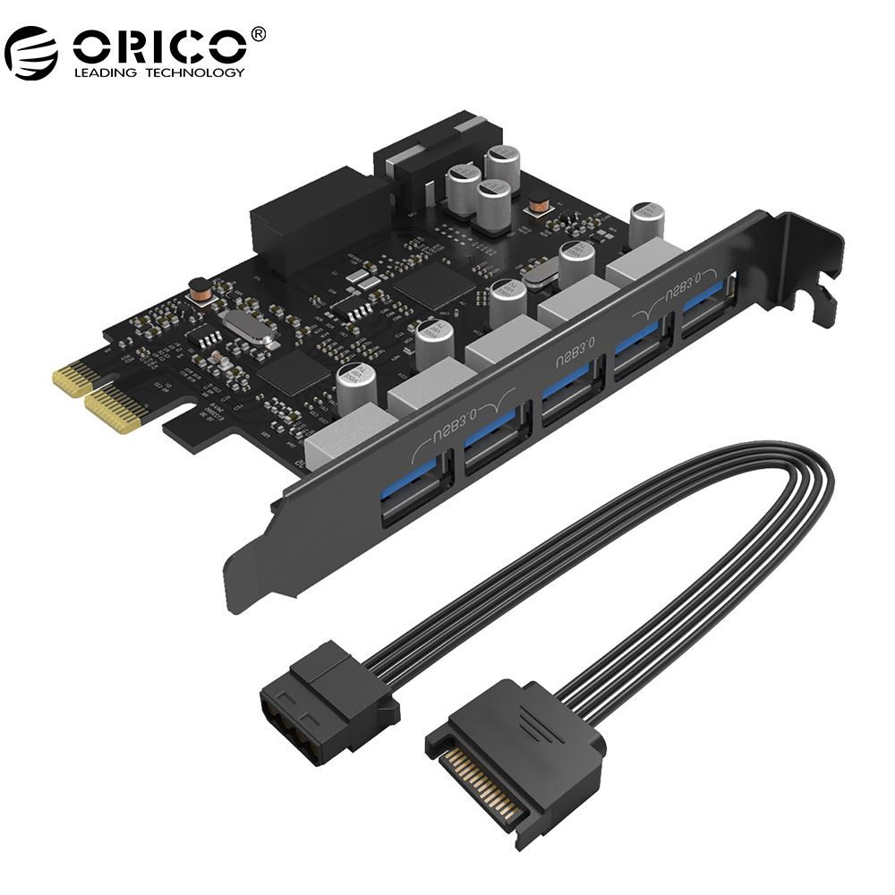 ORICO PVU3-5O2I USB3.0 5-Port PCI-E Erweiterungskarte mit Dual-Chip Mit 20 Pin Slot-Schwarz