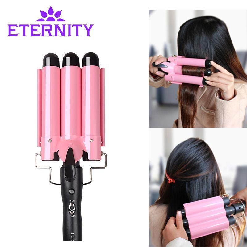 20-32m Automatic Perm Splint Ceramic Hair Curler 3 Barrels Big Wave Hair <font><b>Curling</b></font> Iron Hair Waver Curlers Styling Tools ET-76