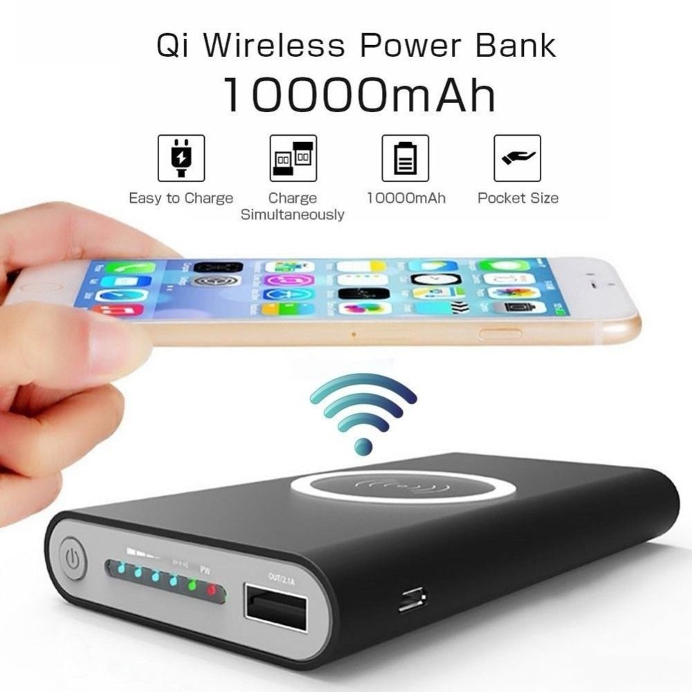 10000mAh Universal Portable Power Bank Qi Wireless Charger For iPhone Samsung S6 S7 S8 Powerbank Mobile Phone Wireless Charger