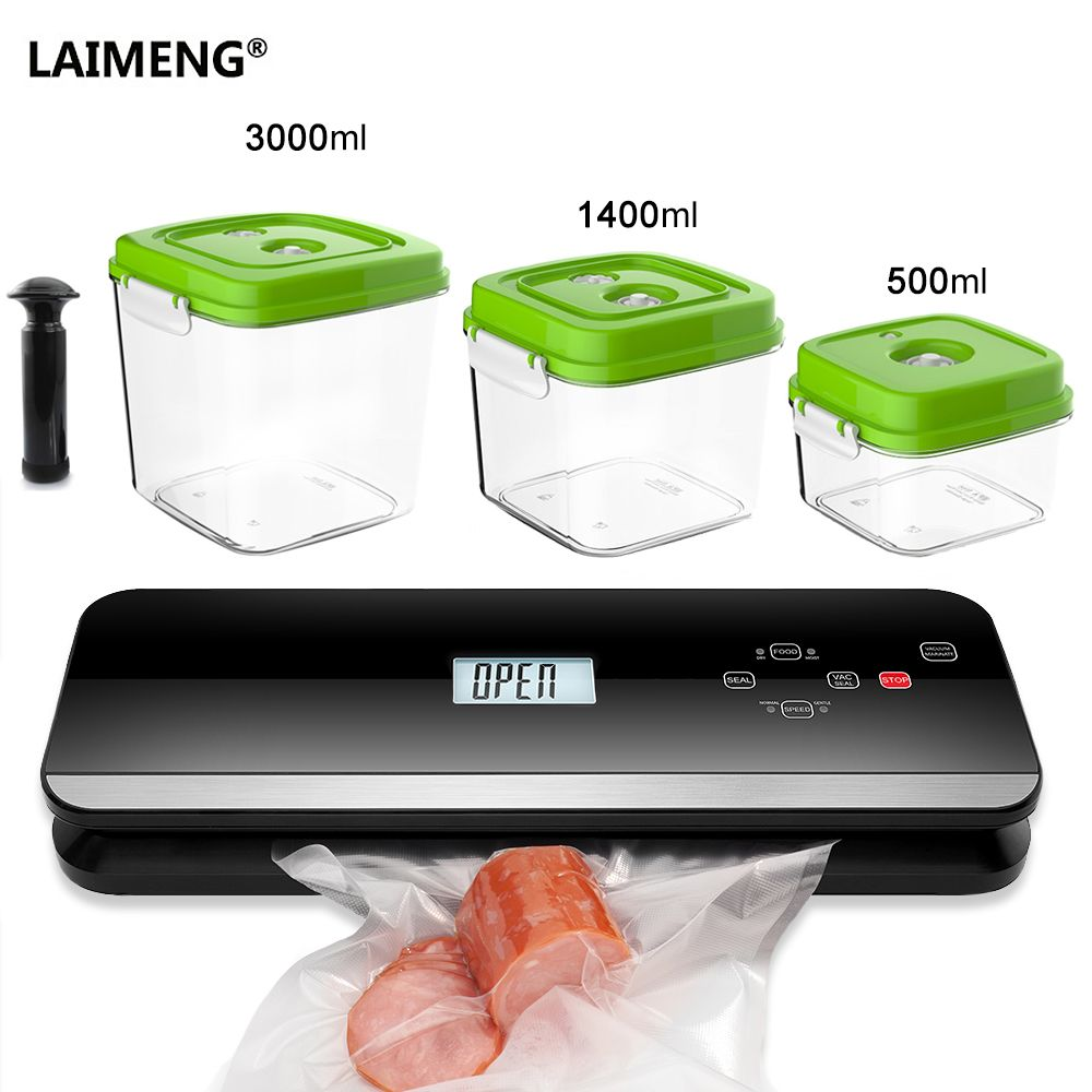 LAIMENG Automatic Vacuum Food Sealer Food Grade Canister Vacuum Bags Packing Machine Vacuum Packer Packaging Kitchen S222