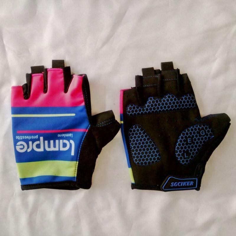 Pro équipe lampre gants absorption des chocs en GEL gants de Vélo de haute qualité demi été finger racing vélo gants Taille m- XL