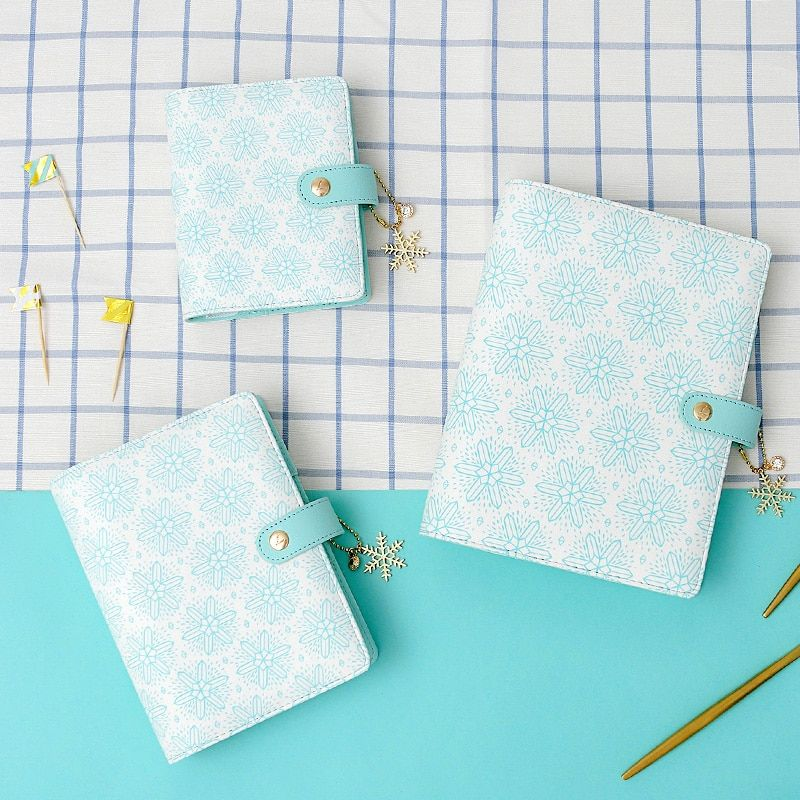 Lovedoki Sweet Snowflake A5A6A7 Planner Mint White Notebook Zipper Hasp Organizer Diary Monthly Weekly Agenda Gifts Wholesale