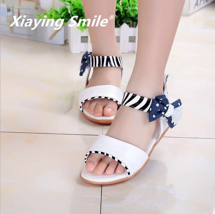 New Style Girls Sandals Children Shoes Little Princess Summer New Bowtie Casual Fashion Hook And Loop Rubber Sole Shoes Bowknot