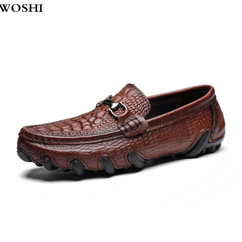 Größe 38-47 männer echte Leder Casual Schuhe outdoor Männer Loafer Krokodil Mokassins Männer Loafers Leder Casual Boot schuhe L5
