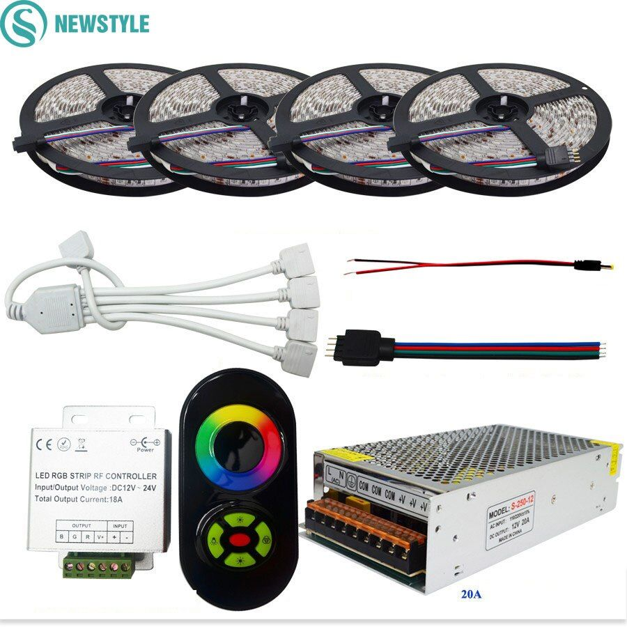 SMD5050 RGB Flexible LED Strip Light Waterproof/Non waterproof  DC12V 60led/m 20M 15M 10M+RF Remote Controller +12V Power Supply