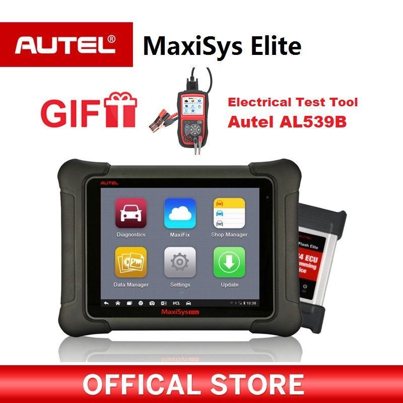 AUTEL MaxiSys Elite Auto diagnostic Programming OBD2 Scanner car Diagnostic tool J2534 ECU programmer PK maxisys pro Gift AL539B