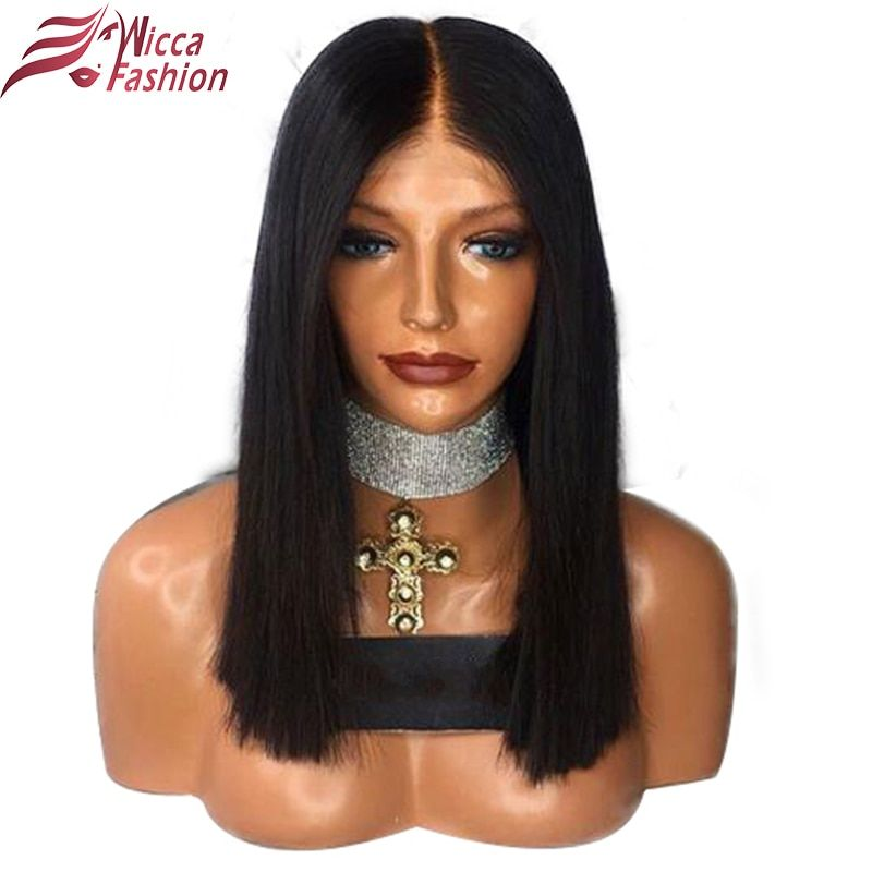 dream beauty Straight Short Bob Wigs Natural Color Brazilian Non-Remy Human Hair Density 130% Lace Front Wigs For Black Women