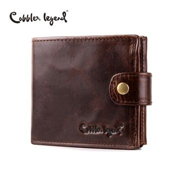 Cobbler Legend Real Cowhide Leather Bifold Clutch Men's Short Wallets Purses Male ID Credit Cards Holder Carteira Masculina 2018