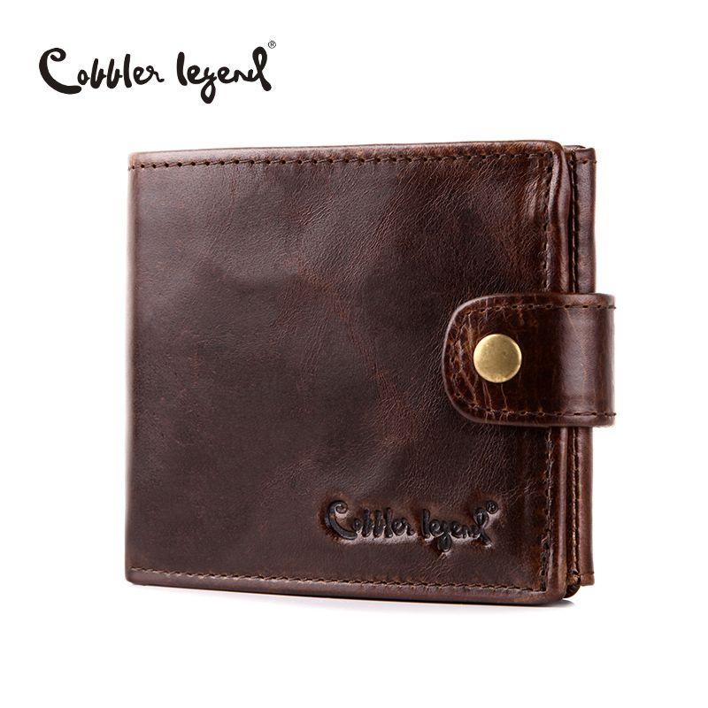 Cobbler Legend Real Cowhide Leather Bifold <font><b>Clutch</b></font> Men's Short Wallets Purses Male ID Credit Cards Holder Carteira Masculina 2018