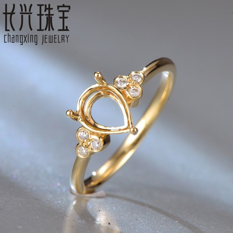 18Kt Yellow Gold Diamond Semi Mount Engagement Ring Setting Pear 6x8mm