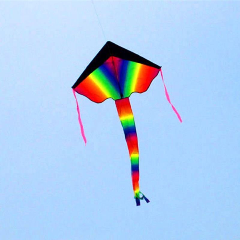 Livraison gratuite cerf-volant arc-en-ciel noir nylon ripstop jouets de plein air cerf-volant volant queues plage fun cerf-volant chaîne parachute cerfs-volants pour adultes