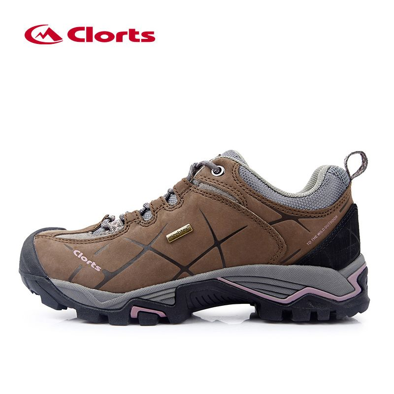 Clorts Women Hiking Shoes HKL-805C Nubuck Leather Non-slip Outdoor Trekking Shoes Waterproof Sport Sneakers