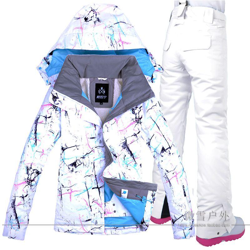 Frauen Ski Jacke Hose Snowboard Anzug Winddicht Wasserdichte Outdoor Sport Tragen Super Warme Kleidung Hosen Winter Weiblichen Anzug Set