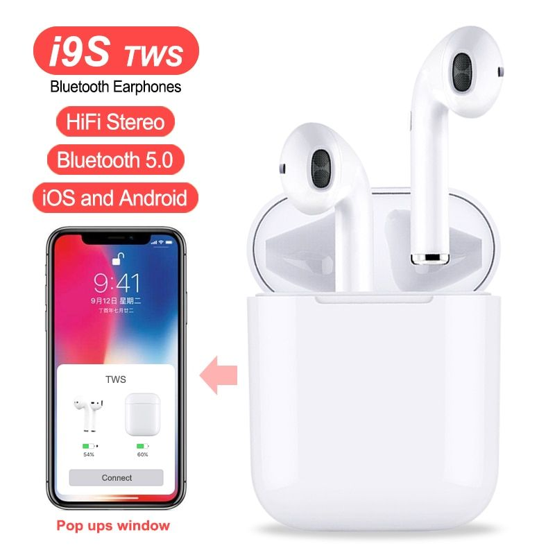 i9S i8X TWS Double Wireless Earphone Portable Bluetooth 5.0 Headset Earbud With Mic for IPhone X 8 7 Plus For Android Phones