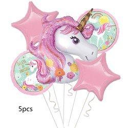 Partigos 5 unids/lote unicornio globos 18 pulgadas estrella ronda fiesta de cumpleaños niños globos del arco iris unicornio partido suministros