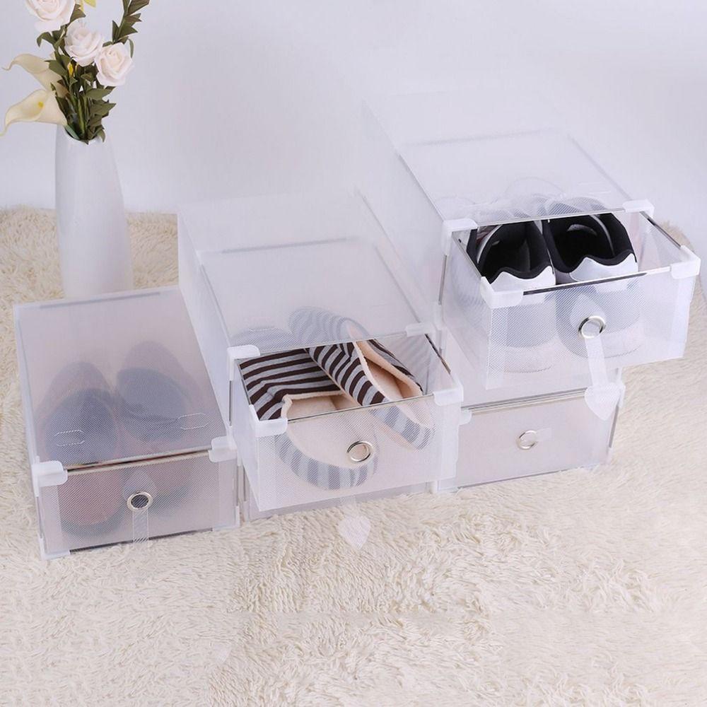 5PCS Transparent Shoe Storage Box Case Plastic PP Storage Box Shoe Organize Drawer Shoe Boxes
