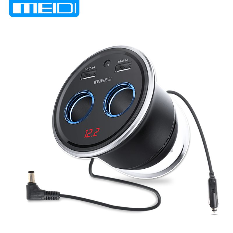 MEIDI Cup Car Charger 3.4A Dual USB Car Charger Cigarette Lighter Adapter Multi-function Display Voltage for phone GPS charger
