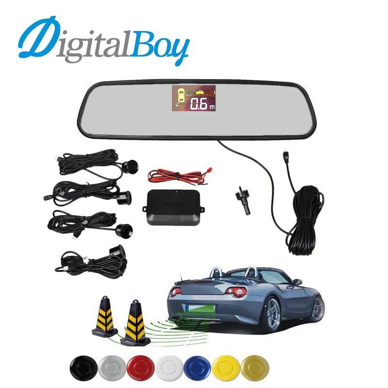 Digitalboy Car Rearview Mirror LCD Parking Sensor Reverse Backup kit Parking Assist with 4 Sensors Reversing Safety Bi-Bi Alert