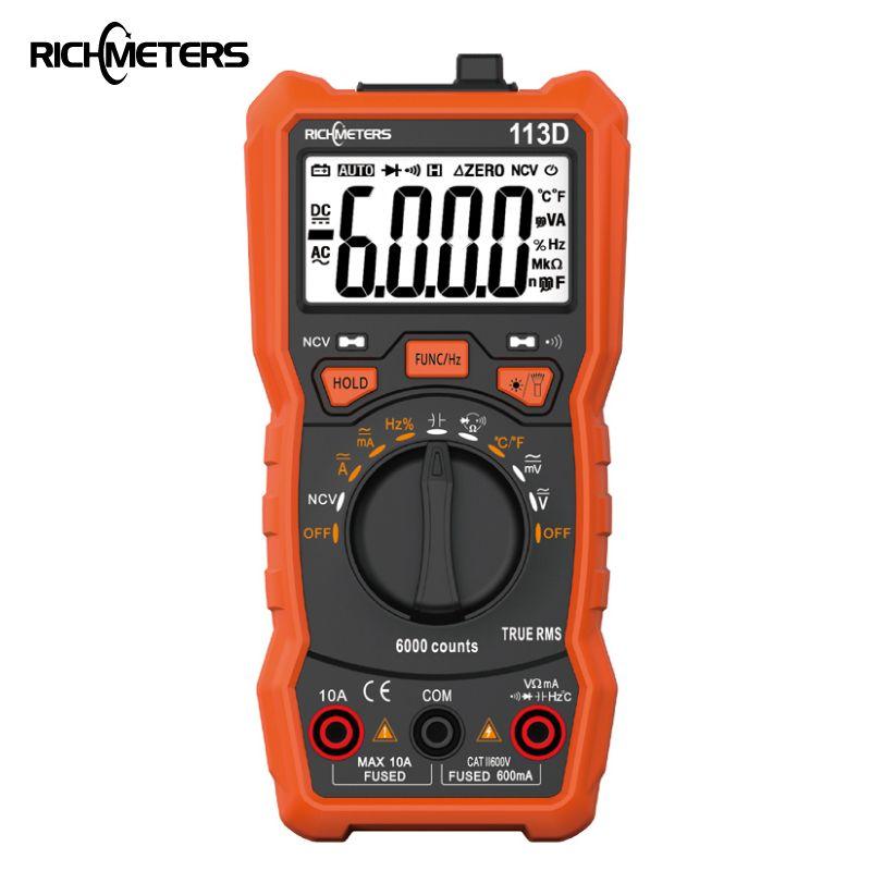 Multimètre numérique de richmetres 113D NCV 6000 compte la gamme automatique AC/DC de mètre de tension lumière de Flash rétro-éclairage grand écran 113A