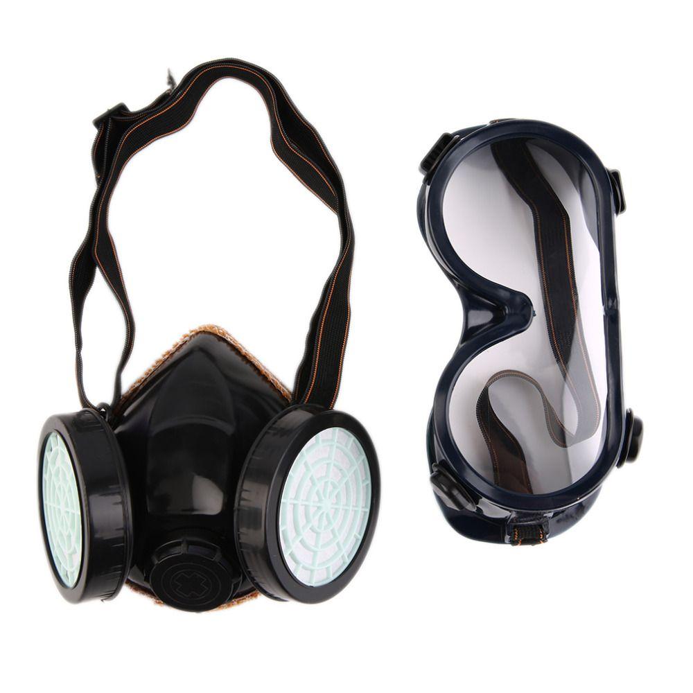 New Schutz Filter Dual Gasmaske Chemische Gas Antistaubfarbe Atemschutzmaske mit Brille Arbeitsschutz Großhandel