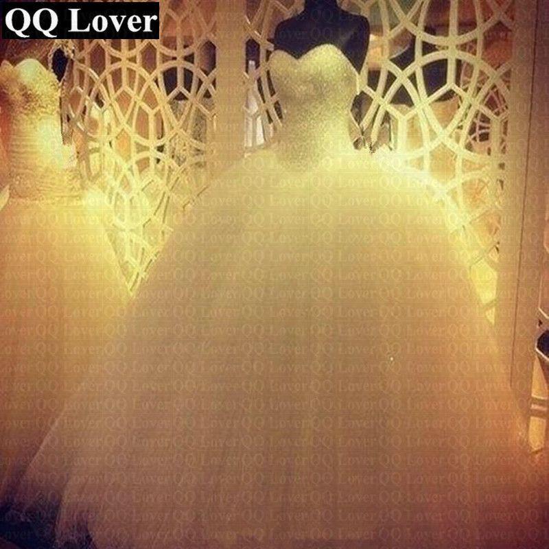 QQ Lover 2018 Robe De Mariage Princess Bling Bling Luxury Crystals White Ball Gown Wedding Dress Custom Made Vestido De Noiva