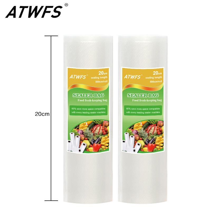 ATWFS Hot Sale 20cm x 500cm 1 Roll Vacuum Food Bag for Kitchen Vacuum Storage Bags Packing Film Keep Fresh