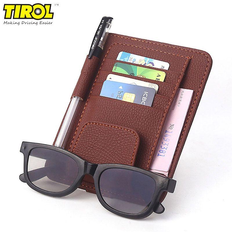 Universal Car Visor Card Clip Holder Auto Sun Visor Glasses Sunglasses Multiuse Suit Leather Car-styling Stowing Tidying Bag
