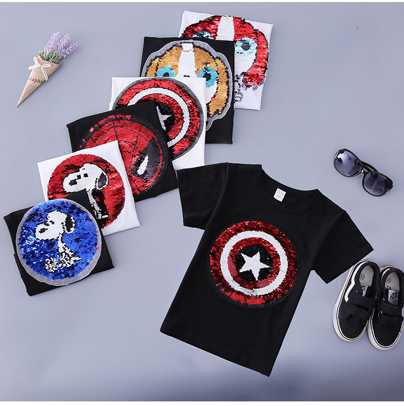 new style change face magic discoloration sequin Captain America cartoon paillettes dog t shirt for boys 2-9 years