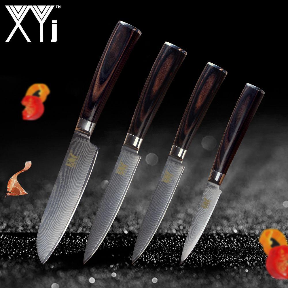 Xyj Кухня Ножи Новое поступление 2018 Дамаск Пособия по кулинарии ножей VG10 core японский Дамаск Сталь вен Кухня инструменты аксессуары