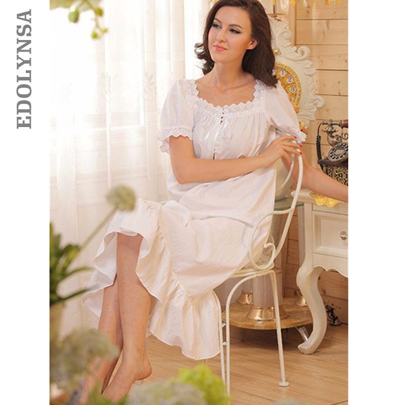 2019 Brand New Sleep Lounge Women Sleepwear Cotton Nightgowns Sexy Long Maxi Robe Home Dress White Nightdress Plus Size #P110