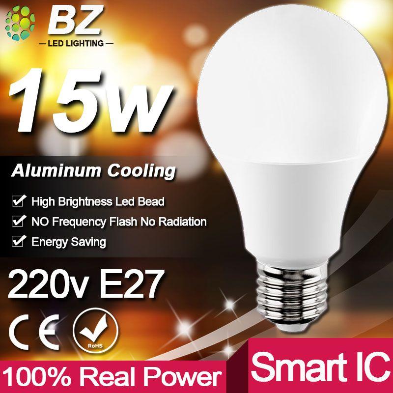 Real Power LED Bulb E27 LED Lampada Ampoule Bombilla 3W 5W 7W 9W 12W 15W 18W LED Lamp 220V Cold/Warm White Led Spotlight