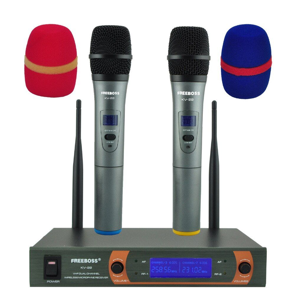 Freeboss KV-22 VHF 2 Handheld Wireless Microphone Dynamic Capsule Family Party Mixed Output Wireless Microphone