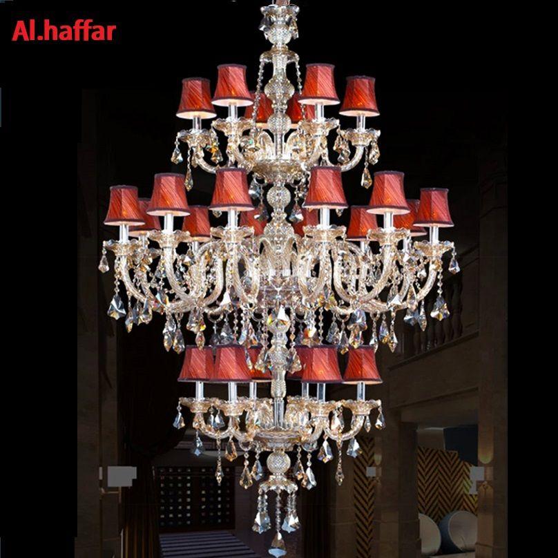 large stair long hotel luxury crystal chandelier 24 lights modern K9 Lobby hotel lustres de cristal candle chandelier fixture