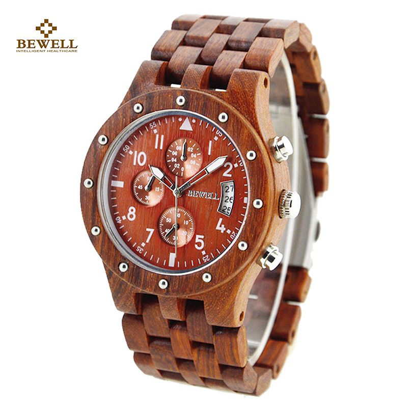 BEWELL Luxury Quartz Watches with Three Small Dials Work Brand Wooden Watch Analog Date Display Wristwatch Function for Men 109D