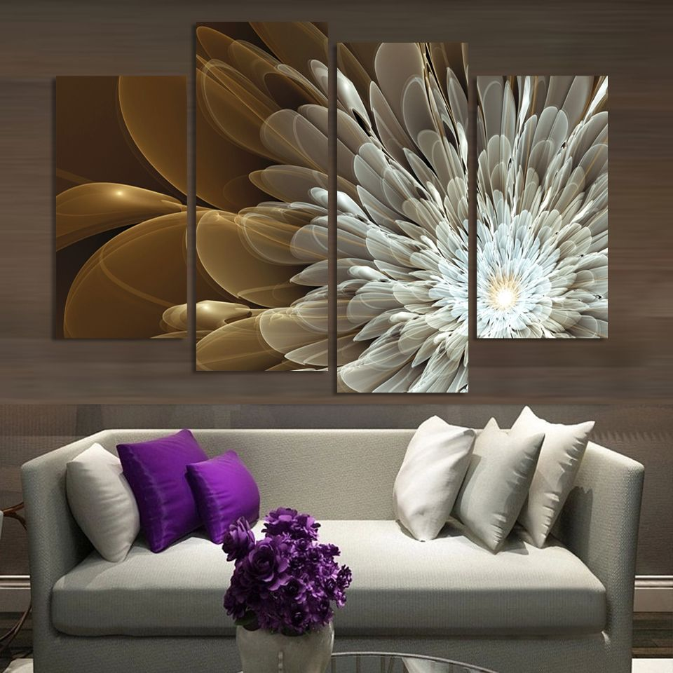 4pcs Wealth And Luxury Golden Flowers Painting Print on canvas wedding decoration for living room Modular wall Picture Unframed